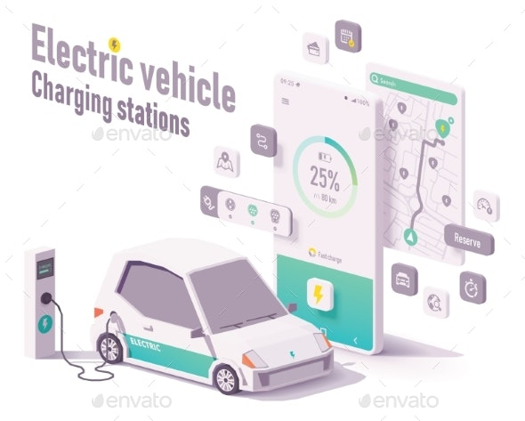 Vector Electric Vehicle Charging Stations App - Technology Conceptual