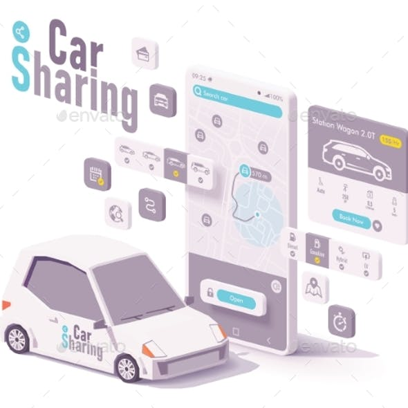 Vector Car Sharing and Hire App Concept