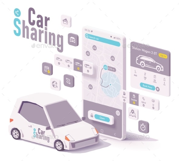 Vector Car Sharing and Hire App Concept - Services Commercial / Shopping