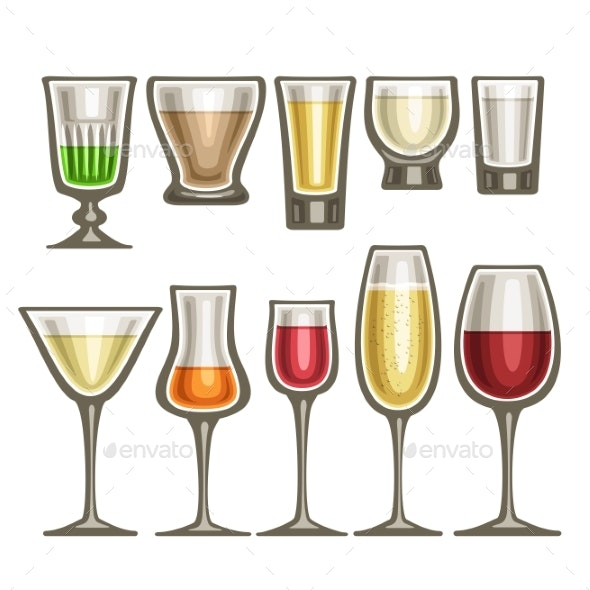 Vector Set of Different Glassware - Food Objects