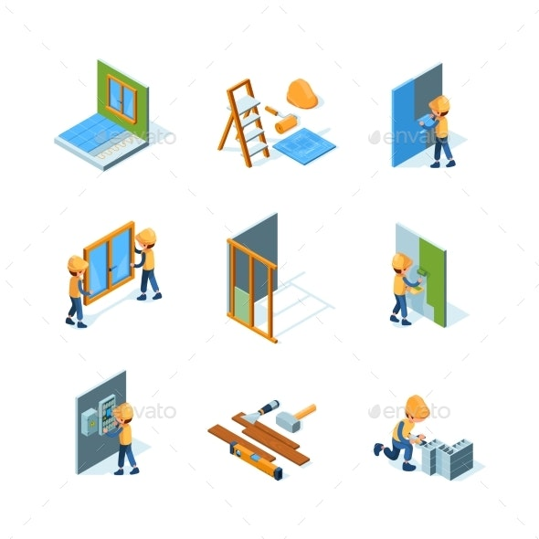 Home Renovation Worker Installation - Miscellaneous Vectors