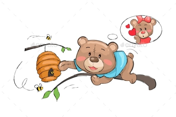 Male Bear Takes Honey From Hive Full of Bees - Animals Characters
