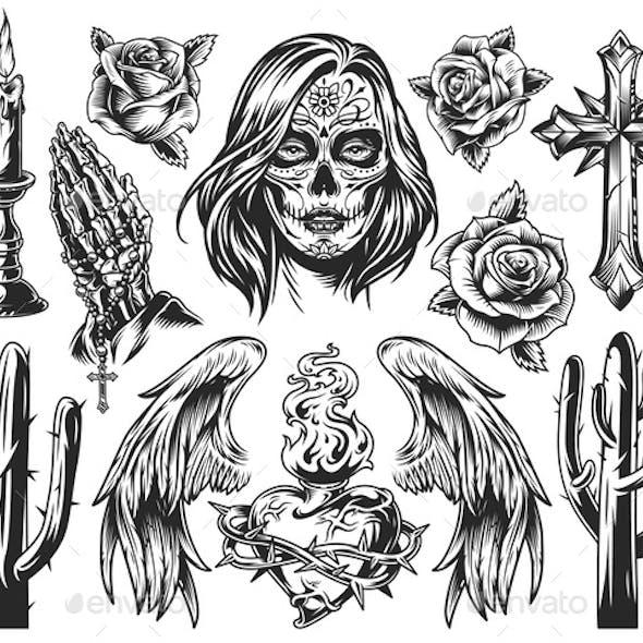 Vintage Dia De Los Muertos Composition