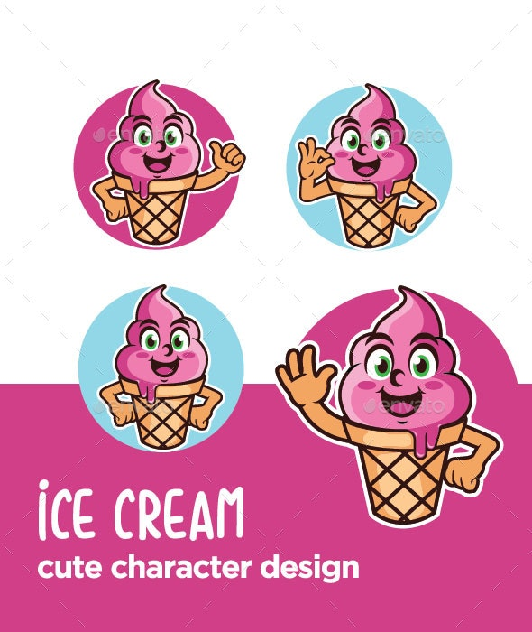 Ice Cream Character Cartoon - Food Objects