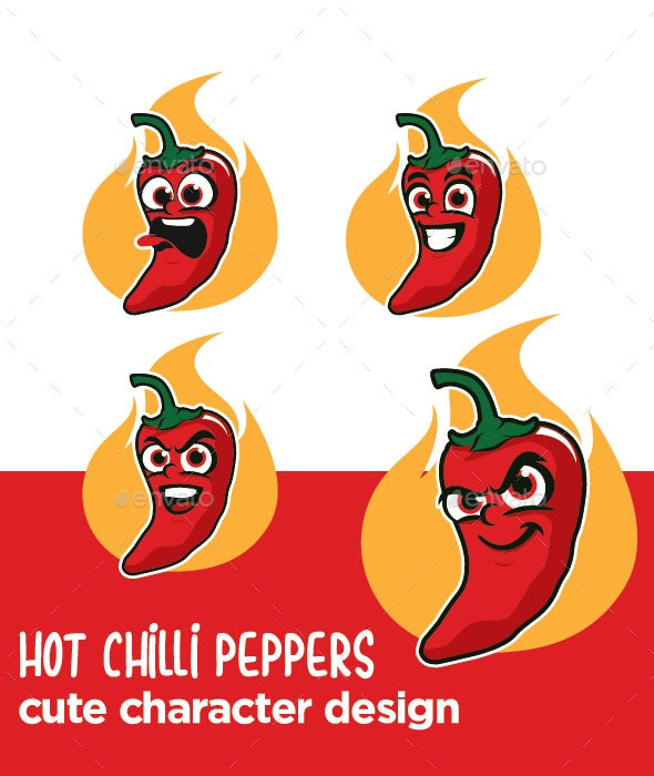 Hot Chili Peppers Cartoon Character - Food Objects