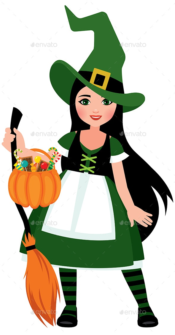 Girl in Halloween Witch Costume in Full Length - Halloween Seasons/Holidays
