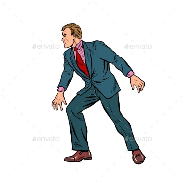 Cautious Businessman Sneaks Takes a Step - People Characters