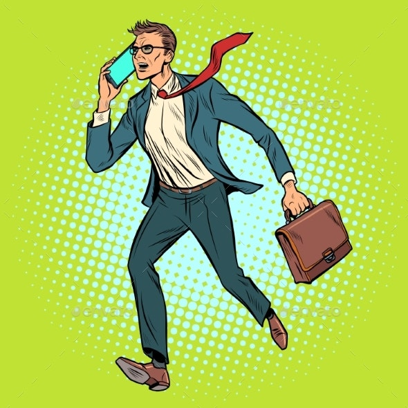 CEO Businessman with Phone Goes - People Characters