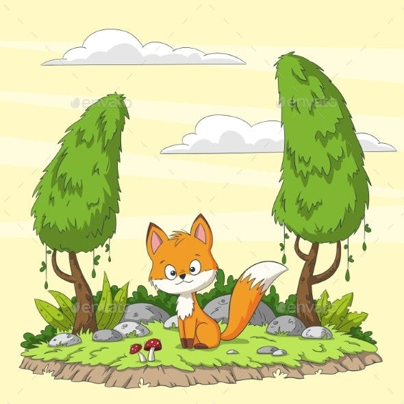 Cute Cartoon Fox - Animals Characters