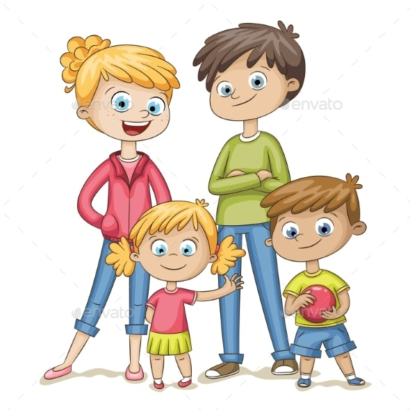 Happy Young Family - People Characters