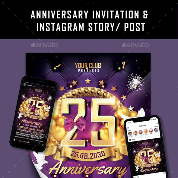 Anniversary Invitation & Instagram Post/ Story