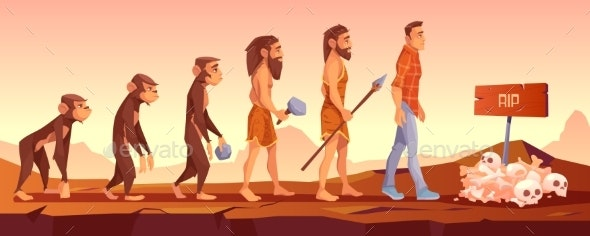 Extinction of Human Species Evolution Time Line - People Characters