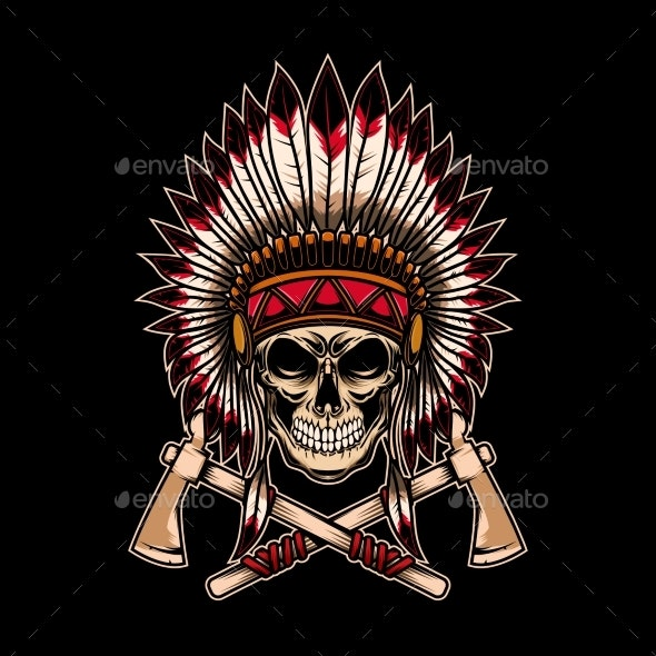 Native Indian Chief Skull with Crossed Tomahawks - Miscellaneous Vectors