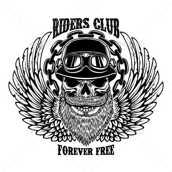 Riders Club Vintage Biker Emblem with Wings - Miscellaneous Vectors