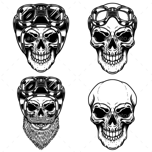 Biker Skulls in Racer Helmets - Miscellaneous Vectors
