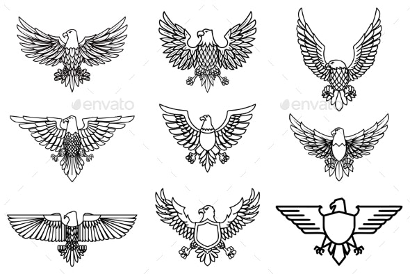 Set of Eagle Icons Isolated on White - Animals Characters