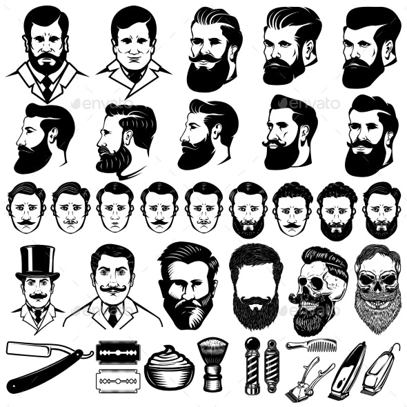 Set of Vintage Barber Monochrome Icons - Miscellaneous Vectors