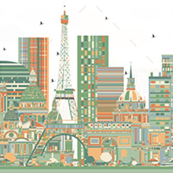 France Skyline with Color Buildings