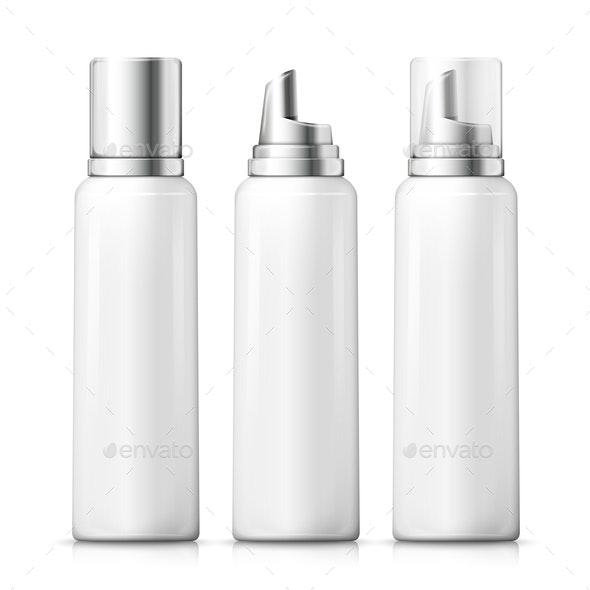 Vector Set of Foam Bottles - Man-made Objects Objects