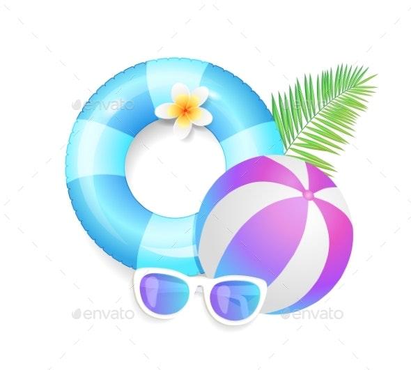 Summer Season Exotic Icons Set Vector Illustration - Miscellaneous Seasons/Holidays