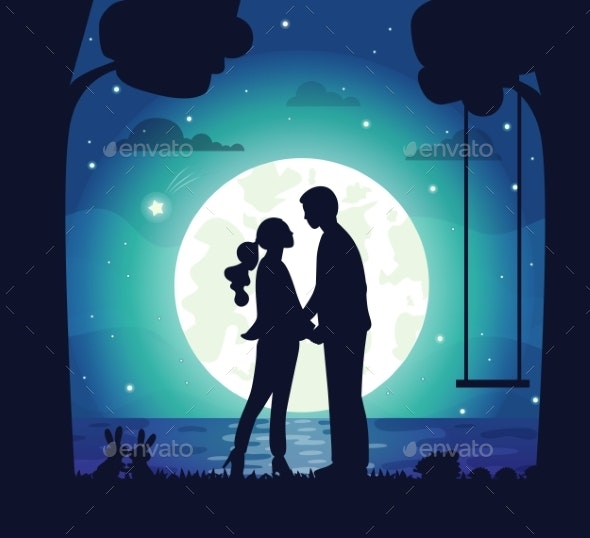 Secret Date of Couple Man and Woman at Night - People Characters