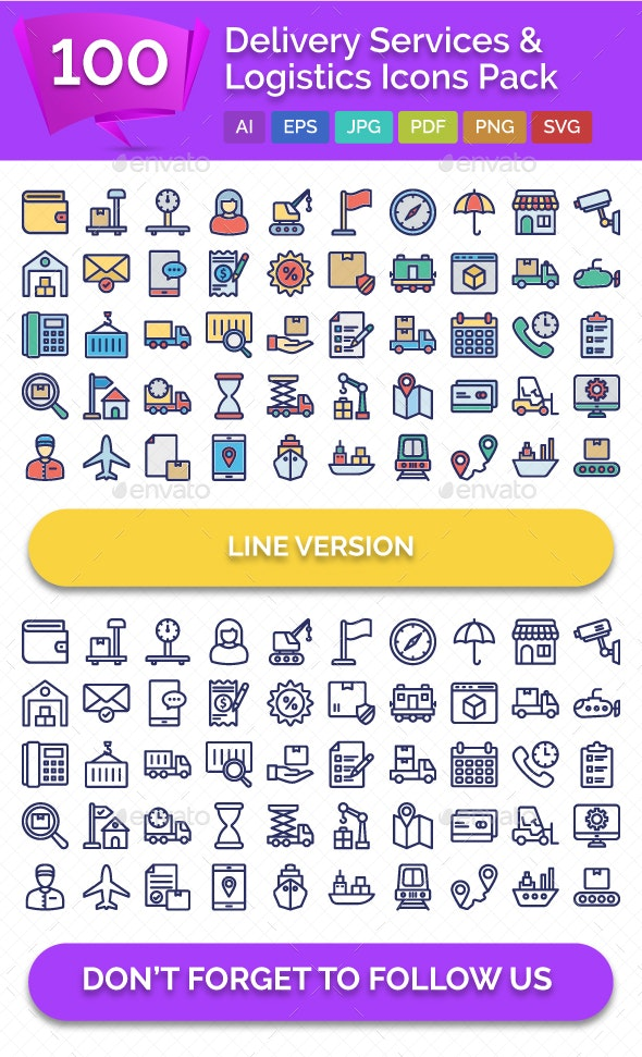 100 Delivery Services & Logistics Vector Icons Pack - Icons