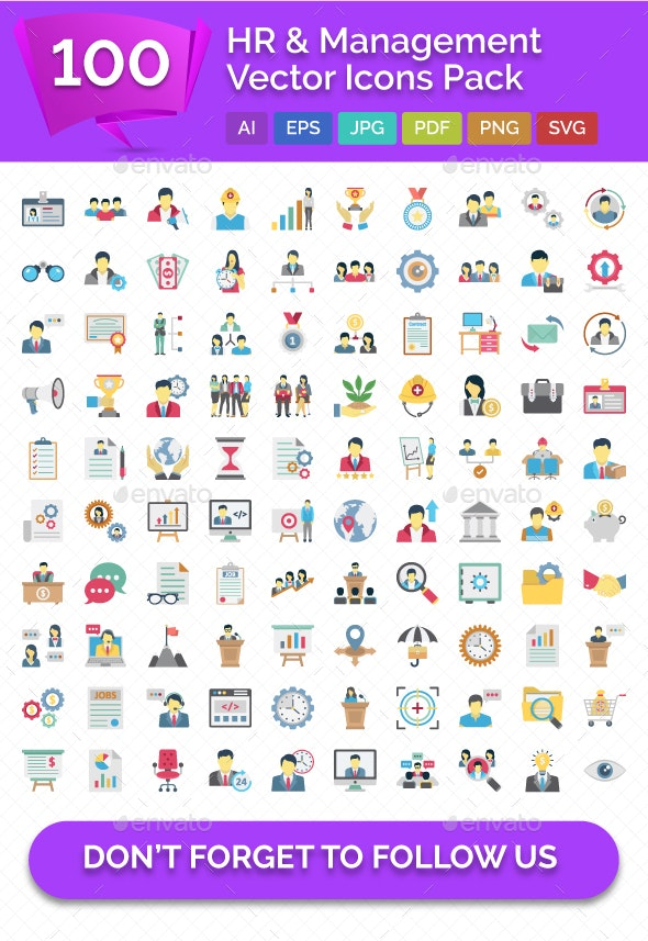 100 HR & Management Vector Icons Pack - Icons