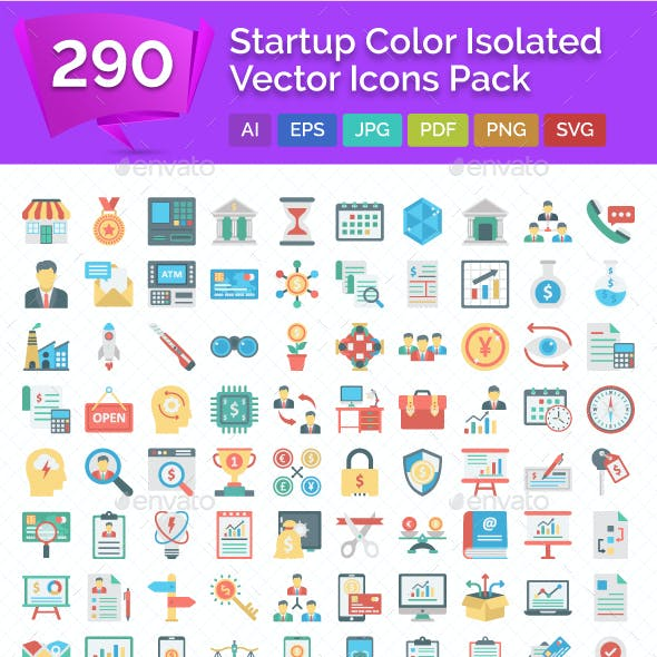 290 Startup Color Isolated Vector Icons Pack