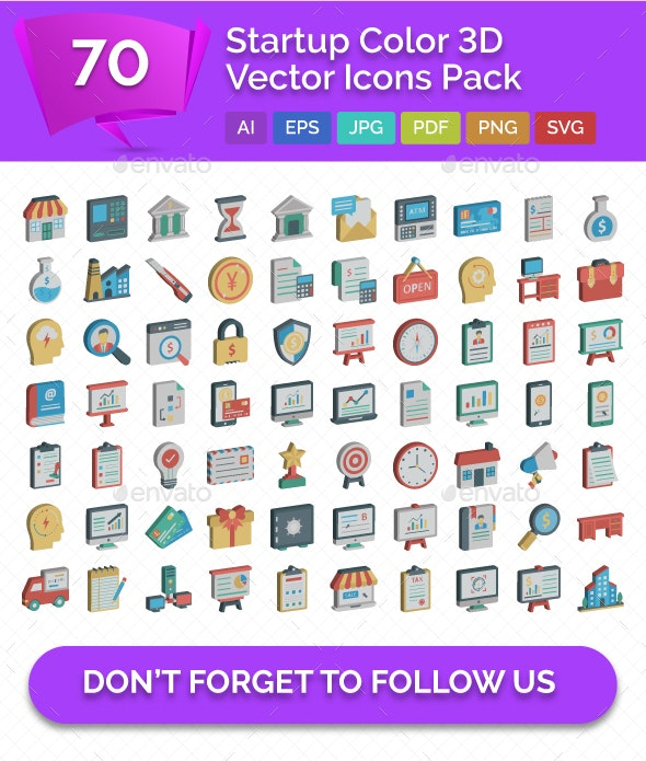 70 Startup Color 3D Vector Icons Pack - Icons