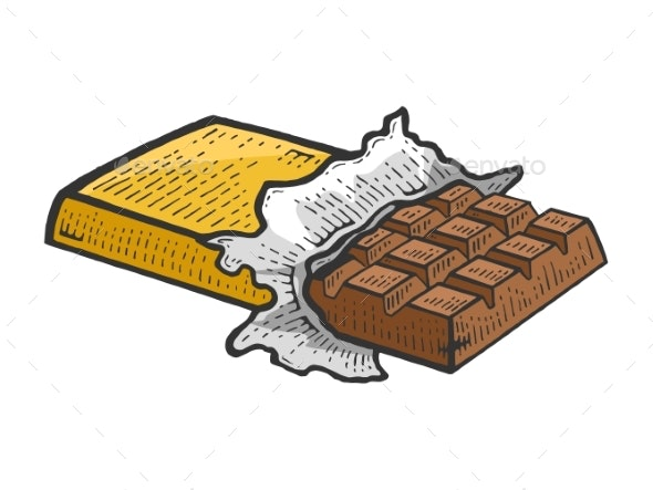 Chocolate Bar Sketch Engraving Vector Illustration - Food Objects