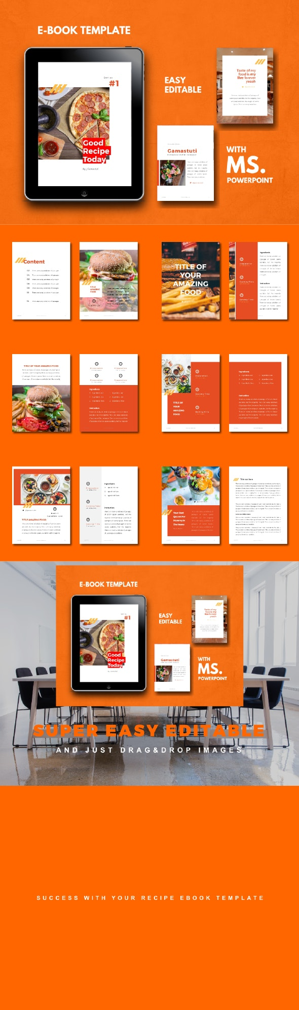 Recipe Food eBook PowerPoint Template - Business PowerPoint Templates
