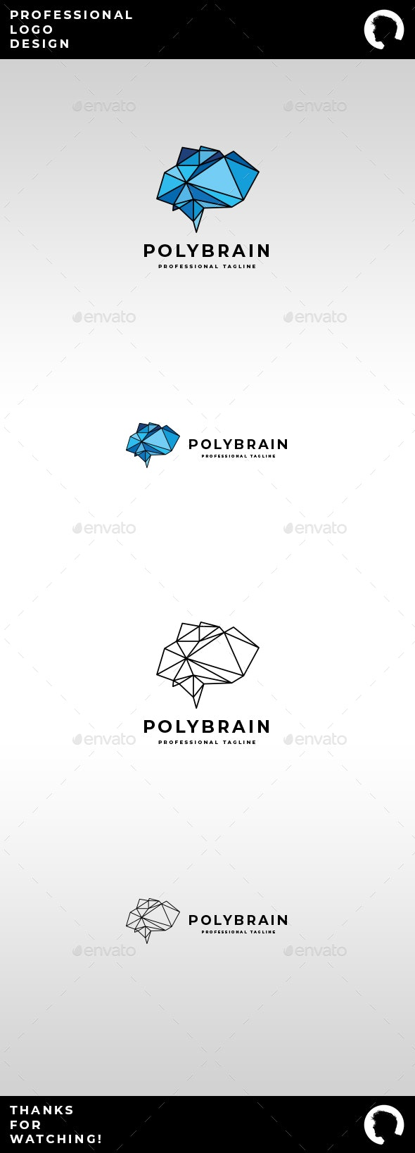 Poly Brain Logo - Objects Logo Templates