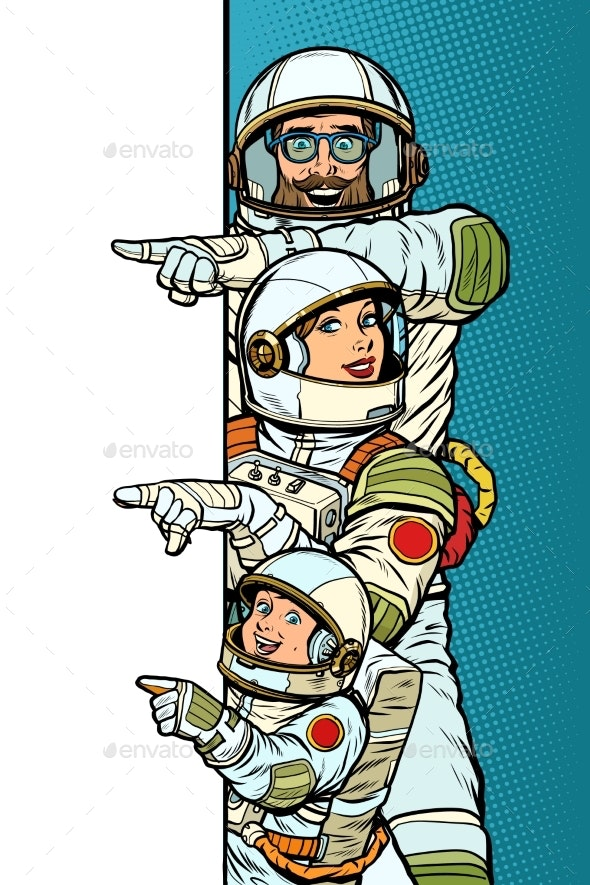 Family Astronauts Mom Dad and Son. Point To Copy - Technology Conceptual