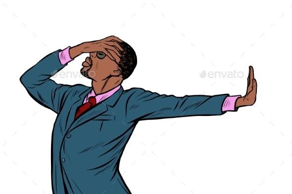 African American Businessman. Shame Denial Gesture - People Characters