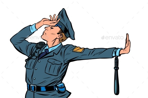 Caucasian Police Officer Shame Denial Gesture No - People Characters