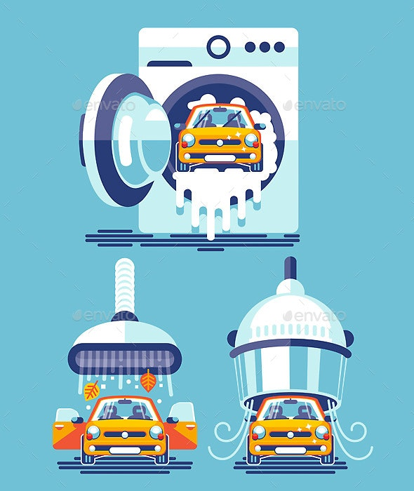 Automatic Line of Cleaning and Washing of the Car - Services Commercial / Shopping