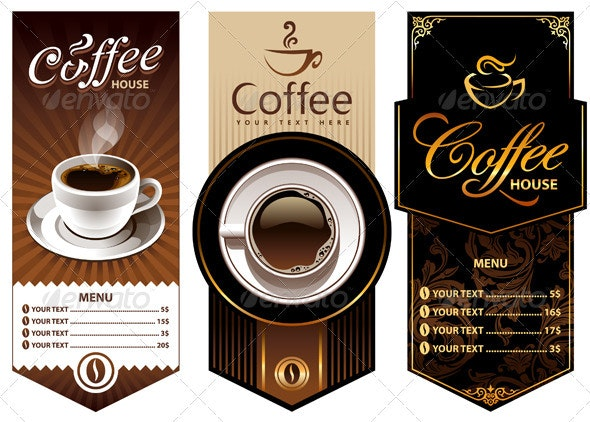 Three coffee design templates - Food Objects