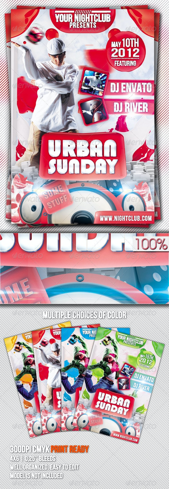 Urban Sunday Flyer Template - Clubs & Parties Events