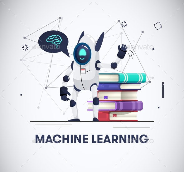 Robot with Books - Miscellaneous Vectors
