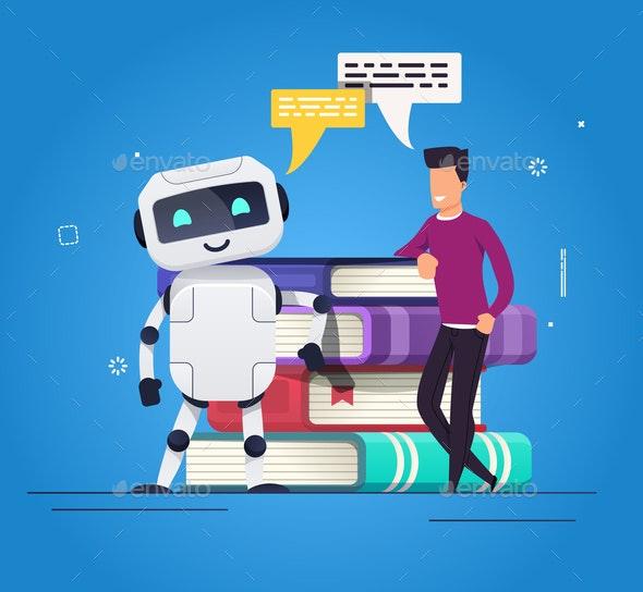 Human vs Robot Concept - Miscellaneous Vectors