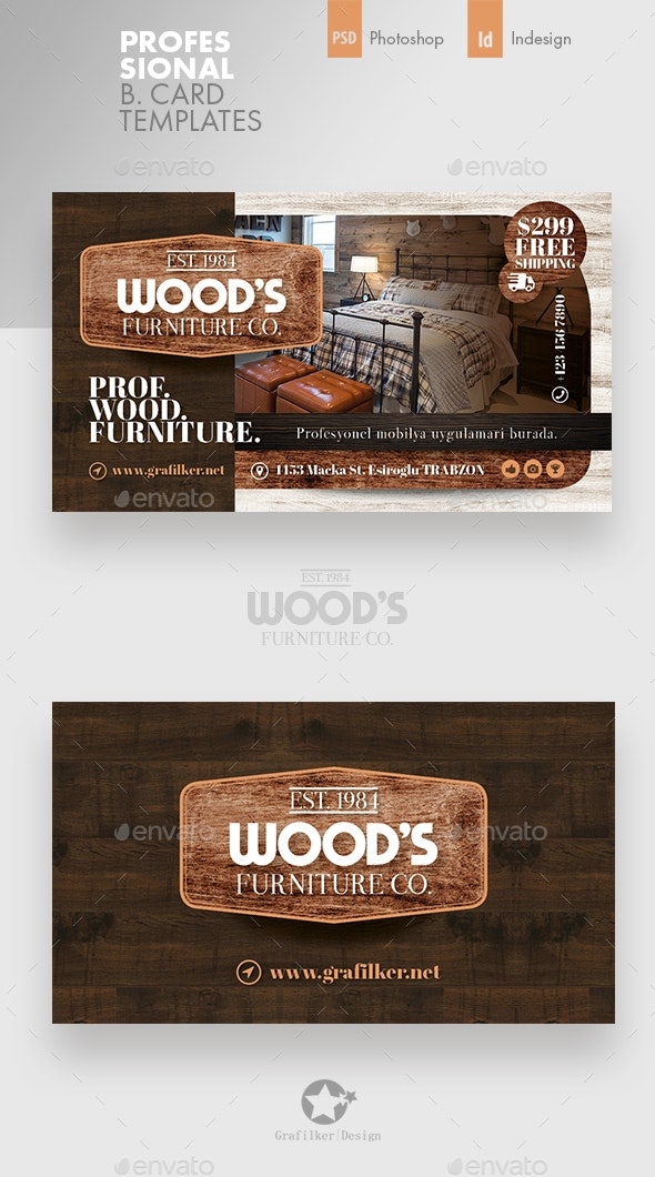 Wood Furniture Business Card Templates By Grafilker
