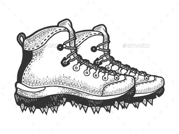 Climber Hiking Boots with Spikes Sketch Vector - People Characters