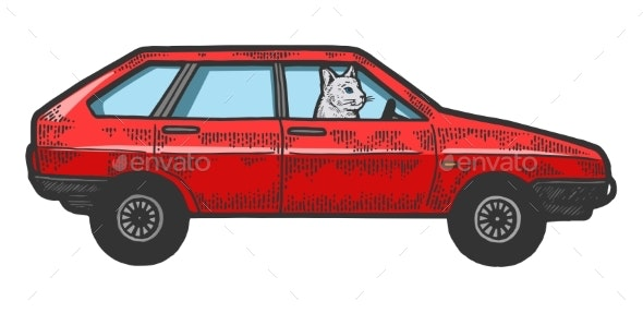 Cat Driving Car Sketch Engraving Vector - Man-made Objects Objects