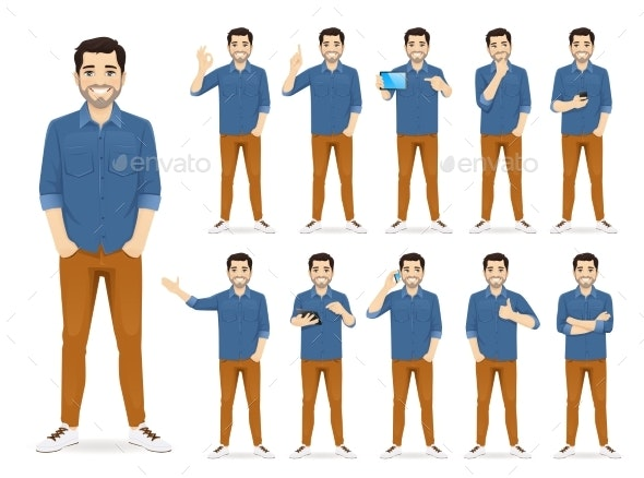 Man in Casual Outfit Set - People Characters