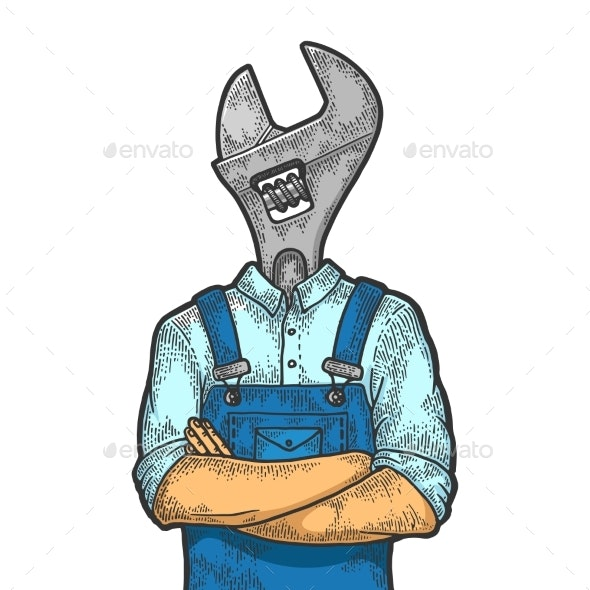 Adjustable Wrench Head Worker Color Sketch - People Characters