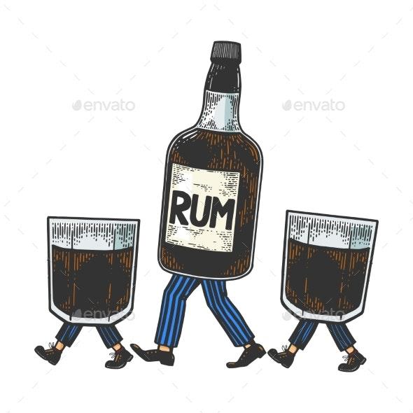 Rum Walks on Feet Color Sketch Engraving Vector - Miscellaneous Vectors
