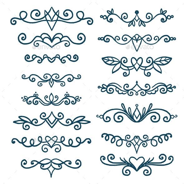 Set of Decorative Elements - Flourishes / Swirls Decorative