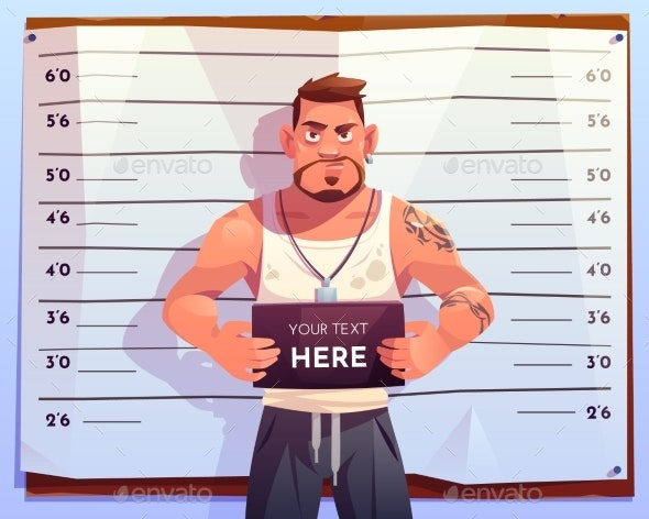 Criminal Mugshot Front View on Measuring Scale - People Characters