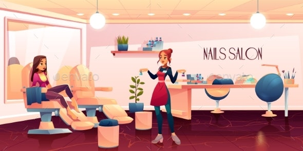 Woman in Pedicure Salon for Nails Care Procedure - People Characters