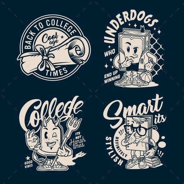 Vintage College Labels - Miscellaneous Vectors